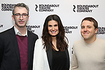 """Director Daniel Aukin, Idina Menzel, playwright Joshua Harmon attends the Cast Photo Call for The Roundabout Theatre Company production of """"Skintight"""" at the American Airlines Theatre on May 16, 2018 in New York City."""