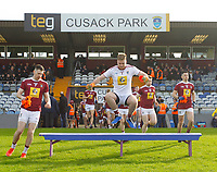26th January 2020; TEG Cusack Park, Mullingar, Westmeath, Ireland; Allianz Football Division 2 Gaelic Football, Westmeath versus Clare; Westmeath goalkeeper Eoin Carberry jumps up to the bench as the team emerge from the dressing room
