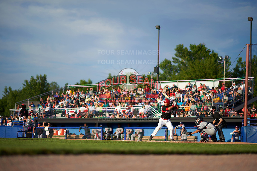 Batavia Muckdogs first baseman Eric Fisher (29) at bat in front catcher Li-Jen Chu and umpire Tyler Jones with a large crowd during a game against the Mahoning Valley Scrappers on July 3, 2015 at Dwyer Stadium in Batavia, New York.  Batavia defeated Mahoning Valley 7-4.  (Mike Janes/Four Seam Images)