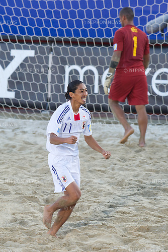 Masayuki Komaki (JPN), SEPTEMBER 06, 2011 - Beach Soccer : Masayuki Komaki of Japan celebrates his goal after scoring the penalty kick  during the FIFA Beach Soccer World Cup Ravenna-Italy 2011 Group D match between Brazil 3-2 Japan at Stadio del Mare, Marina di Ravenna, Italy, (Photo by Enrico Calderoni/AFLO SPORT) [0391]