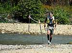 August 20, 2016 - Leadville, Colorado, U.S. -  Ultra distance runner, Julien Jorro #441, negotiates a river crossing prior to ascending to Hope Pass during the Blueprint for Athletes Leadville Trail 100, Leadville, Colorado.  Considered one of the most challenging endurance races in the world, ultra distance runners will navigate high altitude trails, challenging river crossings, and a variety of changing weather with an elevation gain of more than 18,000 feet ranging from 9200 feet near Twin Lakes to 12,600 feet atop the high point of Hope Pass.
