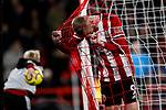 Oliver McBurnie of Sheffield United puts his head in the net after missing a chance during the Premier League match at Bramall Lane, Sheffield. Picture date: 5th December 2019. Picture credit should read: James Wilson/Sportimage