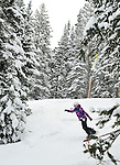 Snowboarding teenager Emma Shapera on a day at Brighton, Utah ...wearing her Aperture parka.
