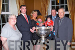 BALLYDESMOND: Ballydesmond and Cork's Donncha O'Connor with the Sam Maguire at the Ballydesmond GLC annual dinner at the Ballygarry House hotel and Spa on Saturday l-r: Anne Leane, Donnacha O'Connor, Trish, Lorcan, Bill and Peter Leane.
