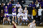SIOUX FALLS, SD: MARCH 7: The Western Illinois bench reacts after a score agains IUPUI during the Women's Summit League Basketball Championship Game on March 7, 2017 at the Denny Sanford Premier Center in Sioux Falls, SD. (Photo by Dick Carlson/Inertia)