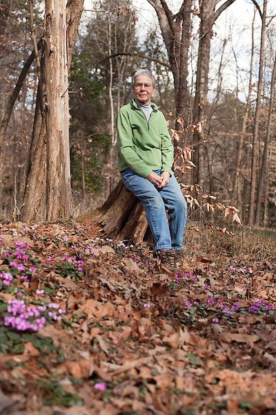 February 2, 2012. Hillsborough, NC..  Nancy Goodwin, who used to run a mail order nursery for rare bulbs, has now preserved her gardens, which in winter, have thousands of blooming flowers and plants, including many rare species which she has cultivated and planted from seeds.