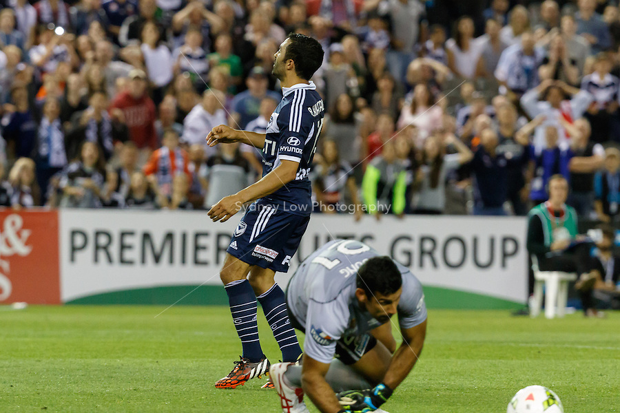 Fahid BEN KHALFALLAH of the Victory reacts after missing a goal in the round seven match between Melbourne Victory and Brisbane Roar in the Australian Hyundai A-League 2014-15 season at Etihad Stadium, Melbourne, Australia.