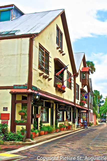 This historic building with wonderful flower filled sidewalks and  balconies houses art galleries, a clothing store, a map shop, glass shop and a custom leather goods shop. It is located on Aviles Street in downtown St. Augustine, Florida