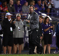 Northwestern Wildcats head coach Pat Fitzgerald watches the action during the first half of the NCAA football game between Ohio State and Northwestern at Ryan Field in Evanston, Illinois on Saturday, October 5, 2013. Final score: Ohio State 40, Northwestern 30. (Columbus Dispatch photo by Jonathan Quilter)