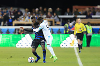 San Jose, CA - Saturday April 08, 2017: Shaun Francis, Oniel Fisher  during a Major League Soccer (MLS) match between the San Jose Earthquakes and the Seattle Sounders FC at Avaya Stadium.