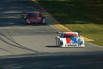 20 June 2008: The Brumos Porsche Riley driven by Darren Law (USA) and David Donohue (USA) followed by the Gainsco Pontiac Riely at the 2008 Rolex Sports Car Series Emco Gears Classic, Mid-Ohio Sports Car Course, Lexington, Ohio, USA.
