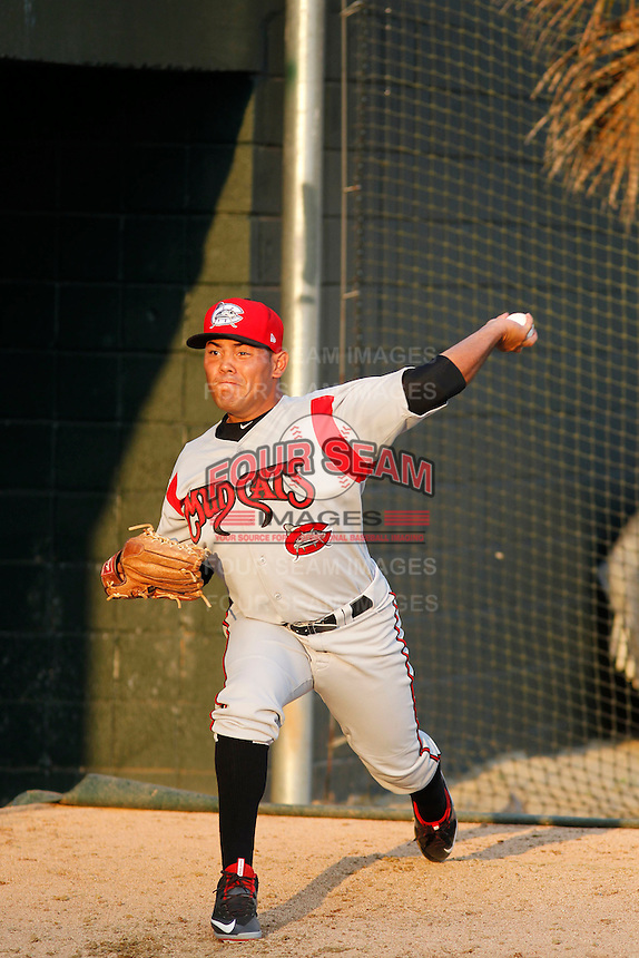 Carolina Mudcats pitcher Andy Otero (6) throwing in the bullpen before game two of a doubleheader against the Myrtle Beach Pelicans at Ticketreturn.com Field at Pelicans Ballpark on June 6, 2015 in Myrtle Beach, South Carolina. Carolina defeated Myrtle Beach 4-2. (Robert Gurganus/Four Seam Images)
