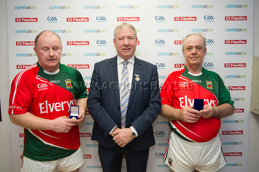 07/04/2018; GAA Handball O&rsquo;Neills 40x20 Championship Mens Masters A Final - Mayo (George Miller/John Conroy) v Antrim (Paddy Crothers/John McGarry), ; Kingscourt, Co Cavan;<br /> Runners up George Miller and John Conroy with GAA Handball President Joe Masterson<br /> Photo Credit: actionshots.ie/Tommy Grealy