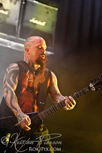 Slayer performs at the 2012 Rockstar Energy Drink Mayhem Festival, Comcast Center, Mansfield, Massachusetts, August 3, 2012