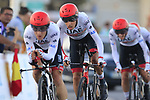UAE Team Emirates including Fabio Aru in action during Stage 1 of La Vuelta 2019, a team time trial running 13.4km from Salinas de Torrevieja to Torrevieja, Spain. 24th August 2019.<br /> Picture: Eoin Clarke | Cyclefile<br /> <br /> All photos usage must carry mandatory copyright credit (© Cyclefile | Eoin Clarke)