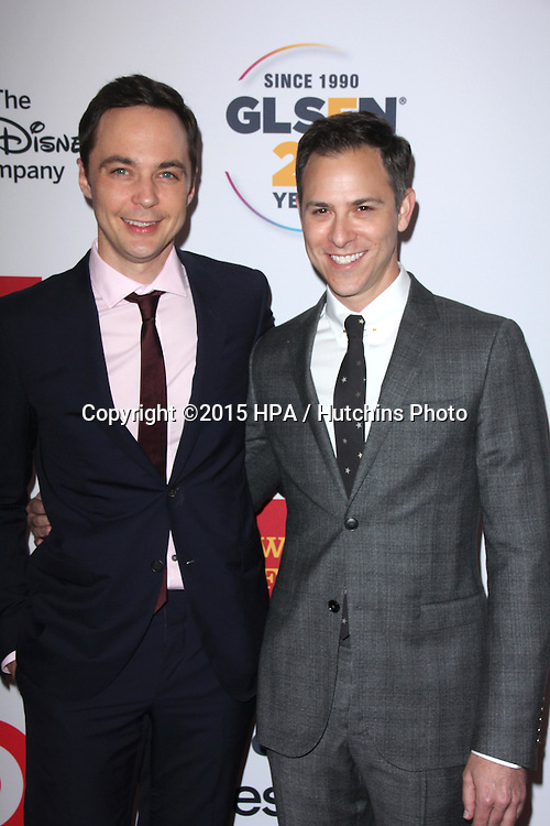 LOS ANGELES - OCT 23:  Jim Parsons, Todd Spiewak at the 2015 GLSEN Respect Awards at the Beverly Wilshire Hotel on October 23, 2015 in Beverly Hills, CA