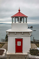 Trinidad Head Lighthouse is an historic lighthouse in Trinidad, California. The low, square, brick tower, painted white, was built in 1871. The light is only 20 feet above ground, but the headland on which it stands gives it an elevation of 196 feet above the sea.