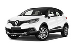 Stock pictures of low aggressive front three quarter view of 2017 Renault Capture Initiale-Paris 5 Door SUV Low Aggressive