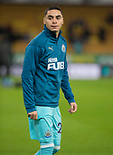 11th February 2019, Molineux, Wolverhampton, England; EPL Premier League football, Wolverhampton Wanderers versus Newcastle United; Miguel Almiron of Newcastle United warming up before the match