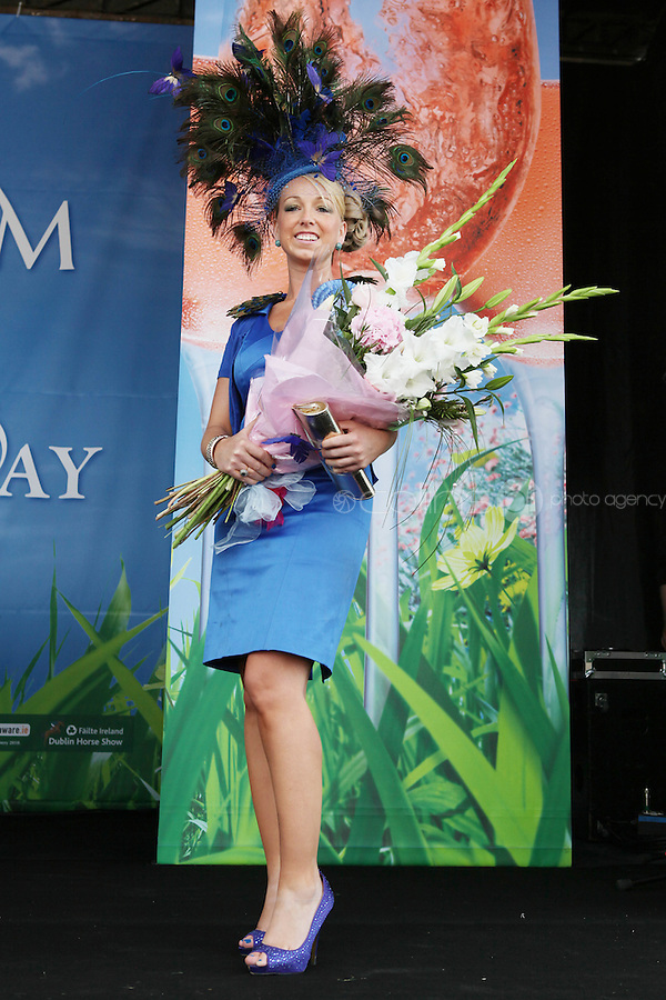 5/8/2010.Blossom Hill Ladies Day. Winner of the best Hat Michelle Foley is pictured at the Blossom Hill Ladies Day at the Fáilte Ireland Dublin Horse Show at RDS. Picture James Horan/Collins Photos
