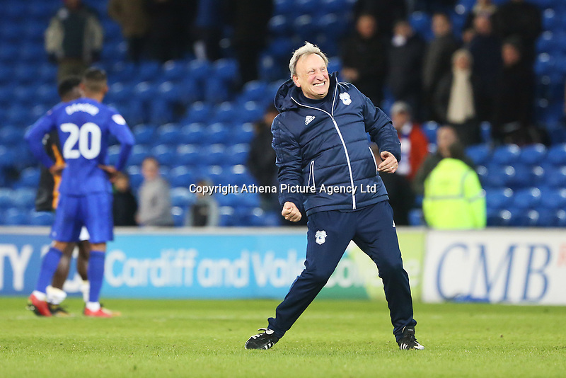 Cardiff City manager Neil Warnock competes his traditional post match air punch with the fans after the final whistle of the Sky Bet Championship match between Cardiff City and Hull City at the Cardiff City Stadium, Cardiff, Wales, UK. Saturday 16 December 2017