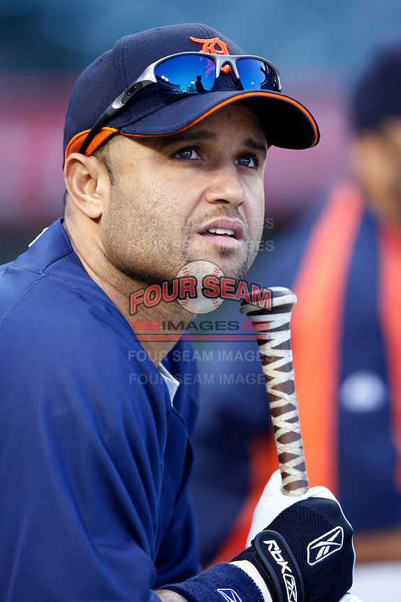 Placido Polanco of the Detroit Tigers during batting practice before a game against the Los Angeles Angels in a 2007 MLB season game at Angel Stadium in Anaheim, California. (Larry Goren/Four Seam Images)