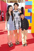 WWW.BLUESTAR-IMAGES.COM  Actress Ming-Na Wen (C) and children arrive at the Los Angeles premiere of 'The Lego Movie' held at Regency Village Theatre on February 1, 2014 in Westwood, California.<br /> Photo: BlueStar Images/OIC jbm1005  +44 (0)208 445 8588