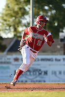 Batavia Muckdogs shortstop Aaron Blanton (11) running the bases during a game against the Mahoning Valley Scrappers on June 21, 2014 at Dwyer Stadium in Batavia, New York.  Batavia defeated Mahoning Valley 10-6.  (Mike Janes/Four Seam Images)