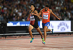 Akihiko NAKAMURA (JPN) and Eelco SINTNICOLAAS (NED) charge for the line in the mens decathlon 400m. IAAF world athletics championships. London Olympic stadium. Queen Elizabeth Olympic park. Stratford. London. UK. 11/08/2017. ~ MANDATORY CREDIT Garry Bowden/SIPPA - NO UNAUTHORISED USE - +44 7837 394578