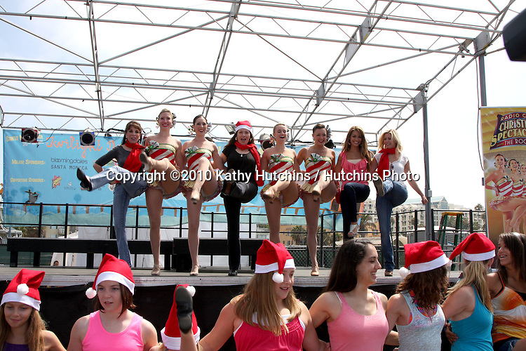 """LOS ANGELES - AUG 12:  Kate Linder, Kirstin Cruz Jackson, Rockettes, Chrishnell Strause,  & Stephanie Gatschet at the  """"Kicking Across America"""" with the Radio City Rockettes Event at Santa Monica Pier on August 12, 2010 in Santa Monica , CA"""