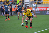 Ngani Laumape scores a disallowed try during the Super Rugby Aotearoa match between the Hurricanes and Highlanders at Sky Stadium in Wellington, New Zealand on Sunday, 12 July 2020. Photo: Dave Lintott / lintottphoto.co.nz