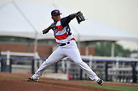 Quad Cities River Bandits starting pitcher Cesar Rosado (8) throws a pitch against the Clinton LumberKings at Modern Woodmen Park on June 14, 2018 in Davenport, Iowa. The River Bandits won 5-2.  (Dennis Hubbard/Four Seam Images)