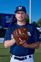 AZL Brewers Blue Nick Belzer (28) poses for a photo before an Arizona League game against the AZL Athletics Gold on July 2, 2019 at American Family Fields of Phoenix in Phoenix, Arizona. AZL Athletics Gold defeated the AZL Brewers Blue 11-8. (Zachary Lucy/Four Seam Images)