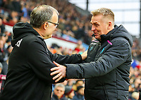 Leeds United manager Marcelo Bielsa is greeted by Aston Villa manager Dean Smith<br /> <br /> Photographer Alex Dodd/CameraSport<br /> <br /> The EFL Sky Bet Championship - Aston Villa v Leeds United - Sunday 23rd December 2018 - Villa Park - Birmingham<br /> <br /> World Copyright &copy; 2018 CameraSport. All rights reserved. 43 Linden Ave. Countesthorpe. Leicester. England. LE8 5PG - Tel: +44 (0) 116 277 4147 - admin@camerasport.com - www.camerasport.com