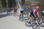 The peloton on sector 2 Bagnaia during Strade Bianche 2019 running 184km from Siena to Siena, held over the white gravel roads of Tuscany, Italy. 9th March 2019.<br /> Picture: Eoin Clarke | Cyclefile<br /> <br /> <br /> All photos usage must carry mandatory copyright credit (© Cyclefile | Eoin Clarke)