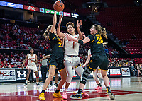 COLLEGE PARK, MD - FEBRUARY 13: Shakira Austin #1 of Maryland caught between Logan Cook #23 and Kate Martin #20 of Iowa during a game between Iowa and Maryland at Xfinity Center on February 13, 2020 in College Park, Maryland.