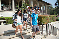Individual faculty advising appointments in the Academic Quad for incoming first-years at the start of Occidental College's Fall Orientation for the class of 2021, Aug. 25, 2017.<br /> (Photo by Marc Campos, Occidental College Photographer)
