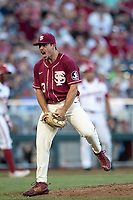 Florida State Seminoles pitcher Drew Parrish (43) celebrates the end of an inning during Game 2 of the NCAA College World Series against the Arkansas Razorbacks on June 15, 2019 at TD Ameritrade Park in Omaha, Nebraska. Florida State defeated Arkansas 1-0. (Andrew Woolley/Four Seam Images)