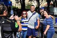 Leroy Houston of Bath Rugby poses for photos with supporters on his first day back at the club. Aviva Premiership match, between Bath Rugby and Worcester Warriors on September 17, 2016 at the Recreation Ground in Bath, England. Photo by: Patrick Khachfe / Onside Images