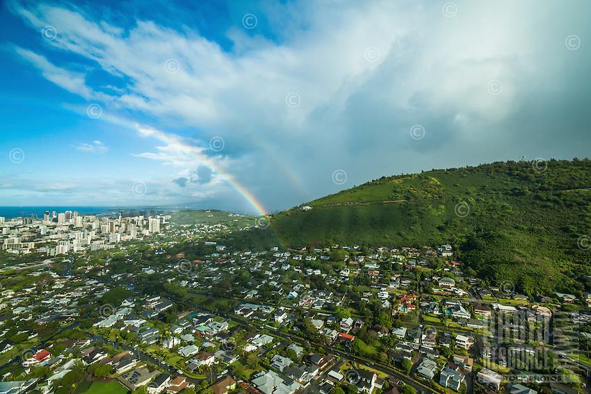 A double rainbow over Manoa Valley, Honolulu, O'ahu.