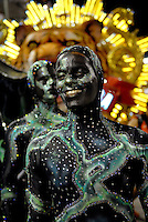 Porto da Pedra samba school parades at Sambadrome during the carnival celebration in  Rio de Janeiro, Brazil, February 23, 2009.