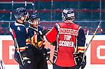 Stockholm 2015-09-04 Ishockey CHL Djurg&aring;rdens IF - EV Zug :  <br /> Djurg&aring;rdens Alexander F&auml;llstr&ouml;m firar sitt 4-2 m&aring;l med Marcus H&ouml;gstr&ouml;m och Marcus S&ouml;rensen under matchen mellan Djurg&aring;rdens IF och EV Zug <br /> (Foto: Kenta J&ouml;nsson) Nyckelord:  Ishockey Hockey CHL Hovet Johanneshovs Isstadion Djurg&aring;rden DIF Zug jubel gl&auml;dje lycka glad happy