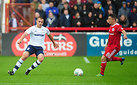 Preston North End's Liam Grimshaw under pressure from Accrington Stanley's Scott Brown<br /> <br /> Photographer Kevin Barnes/CameraSport<br /> <br /> The Carabao Cup - Accrington Stanley v Preston North End - Tuesday 8th August 2017 - Crown Ground - Accrington<br />  <br /> World Copyright &copy; 2017 CameraSport. All rights reserved. 43 Linden Ave. Countesthorpe. Leicester. England. LE8 5PG - Tel: +44 (0) 116 277 4147 - admin@camerasport.com - www.camerasport.com