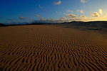 Sand dunes and patterns of the sand as the sun sets, Corralejo, Fuerteventura, Canary Islands, Spain.