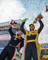 Sep 16, 2018; Mohnton, PA, USA; NHRA top fuel driver Steve Torrence (left) and funny car driver J.R. Todd celebrate after winning the Dodge Nationals at Maple Grove Raceway. Mandatory Credit: Mark J. Rebilas-USA TODAY Sports