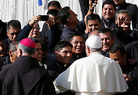 Pope Francis greets a group of priests at the end of his weekly general audience in St. Peter's Square at the Vatican City, October 16, 2019. <br /> UPDATE IMAGES PRESS/Riccardo De Luca<br /> <br /> STRICTLY ONLY FOR EDITORIAL USE