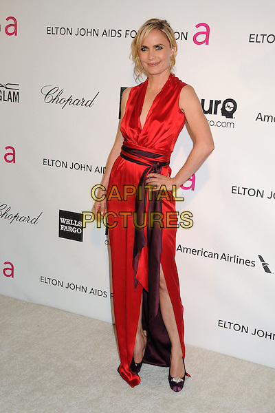 Radha Mitchell .21st Annual Elton John Academy Awards Viewing Party held at West Hollywood Park, West Hollywood, California, USA..February 24th, 2013.oscars full length dress slit split purple waistband red silk satin sleeveless hand on hip.CAP/ADM/BP.©Byron Purvis/AdMedia/Capital Pictures.