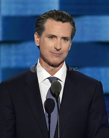 Lieutenant Governor Gavin Newsom (Democrat of California) makes remarks during the third session of the 2016 Democratic National Convention at the Wells Fargo Center in Philadelphia, Pennsylvania on Wednesday, July 27, 2016.<br /> Credit: Ron Sachs / CNP/MediaPunch<br /> (RESTRICTION: NO New York or New Jersey Newspapers or newspapers within a 75 mile radius of New York City)