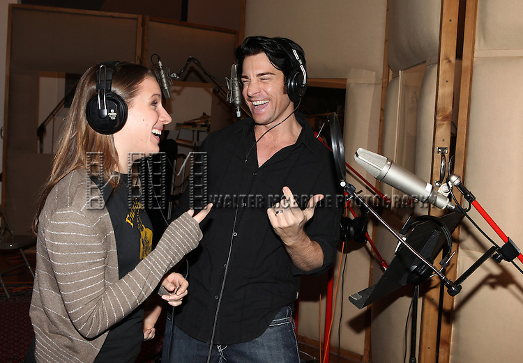 Jessie Mueller & Andy Karl recording the 2012 Original Broadway Cast Recording of 'The Mystery of Edwin Drood' at the KAS Music & Sound Studios in Astoria, New York on December 10, 2012