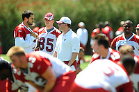 Jun 9, 2008; Tempe, AZ, USA; Arizona Cardinals quarterback (7) Matt Leinart and wide receiver (85) Jerheme Urban talk with a coach during mini camp at the Cardinals practice facility. Mandatory Credit: Mark J. Rebilas-
